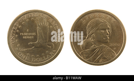 US Sacagawea dollar coin isolated on white - obverse and reverse - Stock Photo