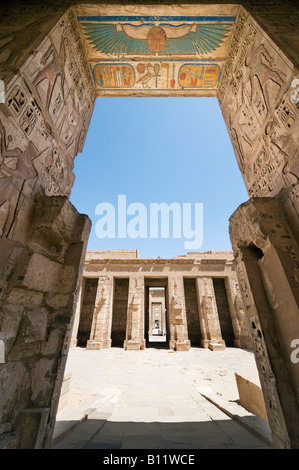 Gateway into the Court of the Temple of Medinet Habu, (Mortuary Temple of Ramses III), Luxor,  Nile  Valley, Egypt - Stock Photo
