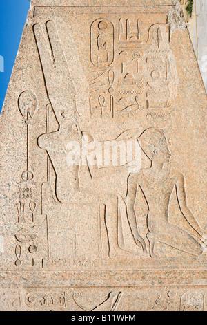 Tip of Hatshepsut's Fallen Obelisk, Precinct of Amun, Temple of Karnak, Luxor, Nile Valley, Egypt - Stock Photo