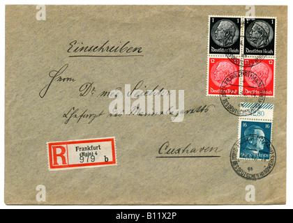 Germany Deutsches Reich Hindenburg stamps on Registered letter, postmarked Frankfurt am Main, 1942. - Stock Photo