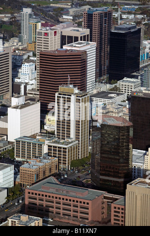 aerial above downtown San Diego including the offices of NBC Merrill Lynch Commerica Union Bank and AT T - Stock Photo