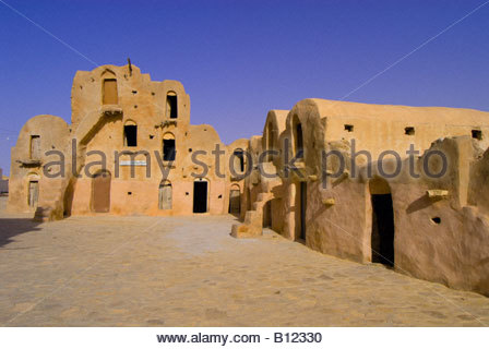 Ghorfas in Ksar Ouled Soltane, Tunisia - Stock Photo