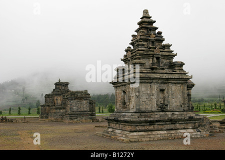 Hindu temples of Dieng Plateau, Java, Indonesia - Stock Photo