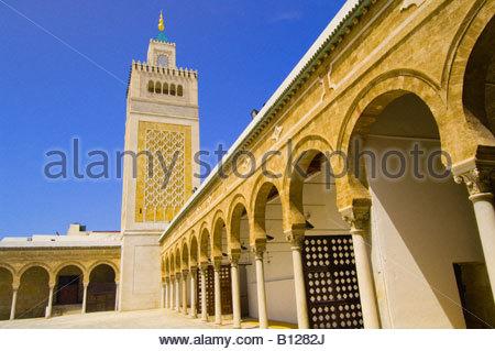 Mosque of the Zitouna, Aghlabid Ez-Zitouna Mosque, Tunis, Tunisia - Stock Photo