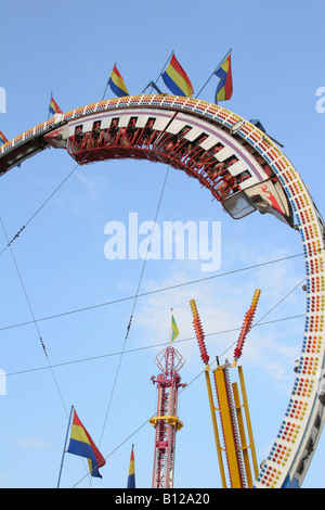 Ring Of Fire Carnival Ride Canfield Fair Canfield Ohio - Stock Photo