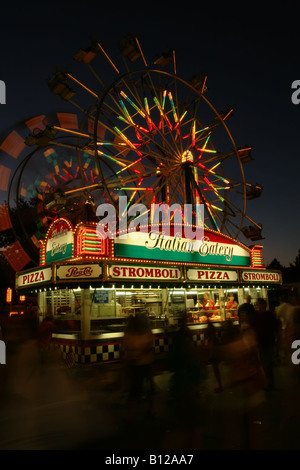 Ferris Wheels and Italian Eatery Canfield Fair Canfield Ohio - Stock Photo