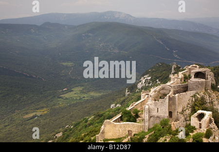 A mountainous landscape view from castle ruins in the French Pyrenees Languedoc Roussillon Southern France - Stock Photo