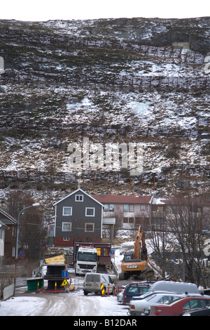 Hammerfest Norway View of snow fence on hillside - Stock Photo