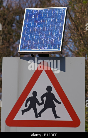 Solar Powered School Warning Traffic Sign Uk Stock Photo
