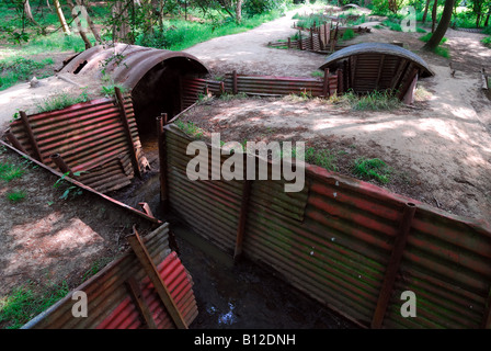 Preserved World War One trenches at Hill 62 Ypres Salient - Stock Photo