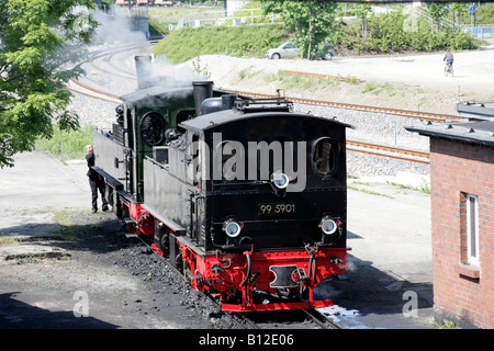 Mallet type of locomotives 99.5902 built 1898, and 99-5901 built 1897 Harz Mountain Railway, der Harzer Schmalspurbahnen - Stock Photo