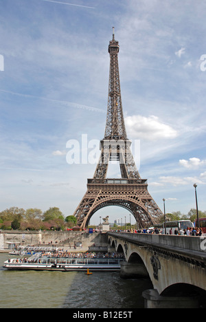 Paris, Eiffel Tower and Bateaux Mouches from the pont D'Iena - Stock Photo