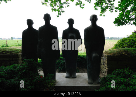 Bronze sculpture at Langemark German First World War cemetery Ypres Belgium - Stock Photo