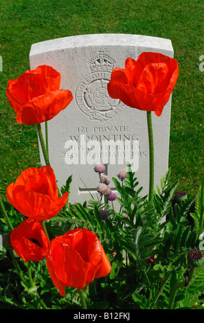 Headstone in World War One war cemetery Ramparts Cemetery also known as Lille Gate Cemetery Ypres Belgium - Stock Photo
