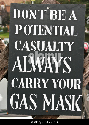 WW2 notice warning of need to carry a gas mask in case of enemy raid - Stock Photo