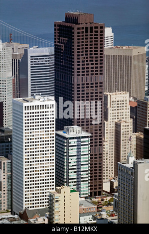 aerial above Bank of America building San Francisco financial district - Stock Photo
