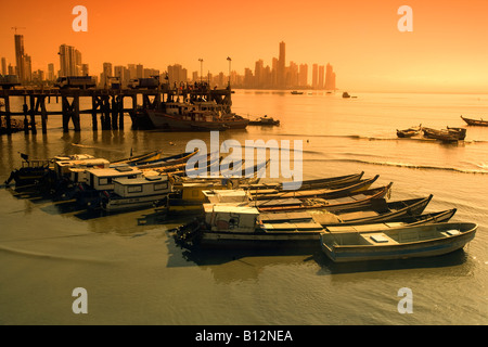 FISHING BOATS SANTA ANA PANAMA BAY PANAMA CITY SKYLINE REPUBLIC OF PANAMA - Stock Photo