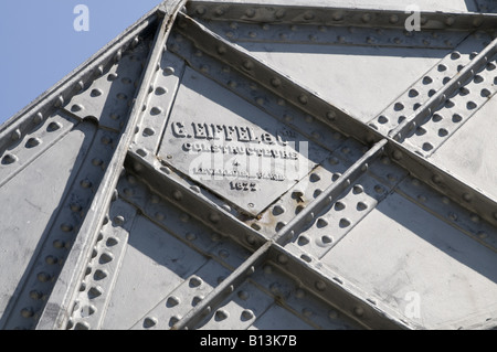 detail of the bridge Dona Maria Pia in Porto, designed and engineered by G. Eiffel and was completed in 1877 - Stock Photo