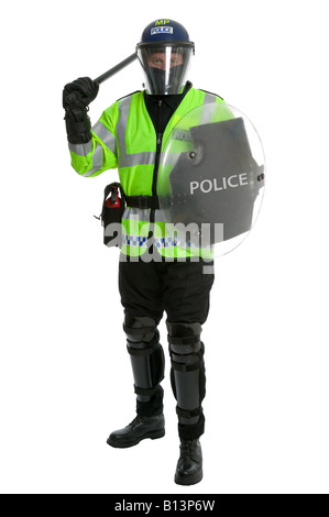 Metropolitan police officer in full riot gear with shield and baton raised on a white background - Stock Photo