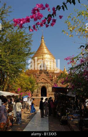 GOLDEN DOME OF DHAMMA YA ZI KA PAGODA, BAGAN PAGAN, MYANMAR BURMA BIRMA, ASIA - Stock Photo