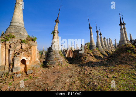 Indein ruins of Shwe Inn Thein stupas, Inle lake, MYANMAR BURMA BIRMA, ASIA - Stock Photo