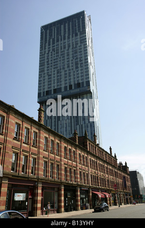 City of Manchester, England. Manchester's Deansgate Street with Beetham Tower, the home of the Hilton Hotel, in - Stock Photo