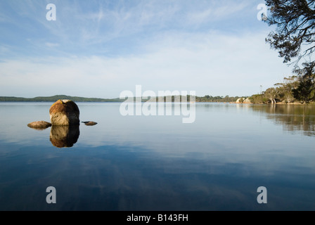 Rocky outcrop in an estuarine environment in early morning light along the waterfront of Wilson Inlet, Denmark, - Stock Photo