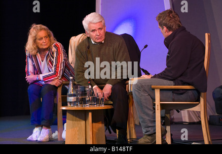 Boris Spassky Russian chess grandmaster & his wife Marina talking about his life on stage at Hay Festival 2008 Hay - Stock Photo