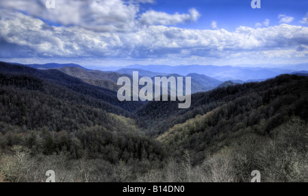 High dynamic range (HDR) image of the Smoky Mountains from Newfound Gap Road.  Smoky Mountains National Park, Tennessee. - Stock Photo