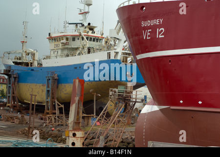 Ships in the Reykjavik harbour dry dock undergoing maintenance and repair Iceland September 2007 - Stock Photo