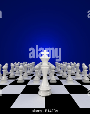Chess King in front of his army of pawns - Stock Photo