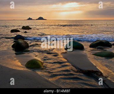 Evening at Porth Nanven beach in Cornwall. - Stock Photo