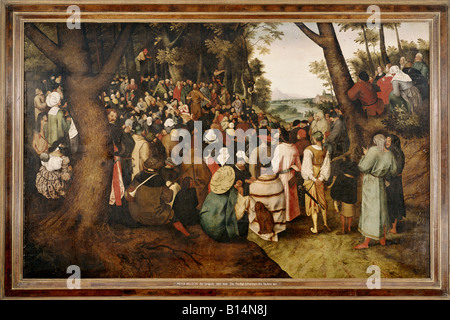 fine arts, Brueghel, Pieter the Younger, (1564 - 1638), painting, 'the sermon of Saint John the Baptist', 1601, - Stock Photo