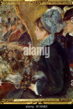 fine arts, Renoir, Auguste (1841 - 1919), painting 'La premiere sortie' (At the Theatre), oil on canvas, 1876, National - Stock Photo