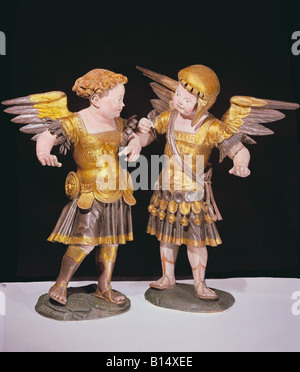 fine arts, sculpture, 'Zwei Puttos in Ruestung' (Two putti in armour), circa 1530 / 1540, wood, hand-carved, painted, - Stock Photo