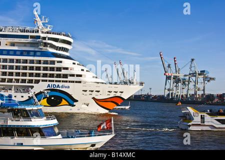Aida Diva on the River Elbe - Stock Photo