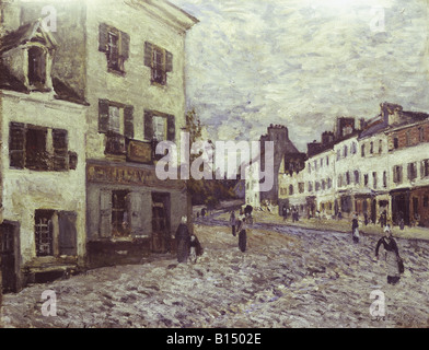 fine arts, Sisley, Alfred, (1839 - 1899), painting, 'Street in Marly', oil on canvas, 50 x 65 cm, 1876, communal arts gallery, Mannheim, Germany, , Artist's Copyright has not to be cleared
