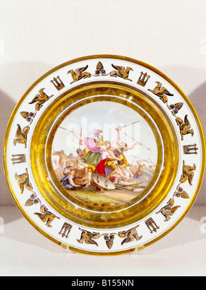 fine arts, porcelain, plate, series by Stone, Coquerel, Le Gros, diameter 22 cm, Paris, France, circa 1810, Munich - Stock Photo