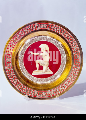 fine arts, porcelain, plate, series with gold plating, onyx series, archer, Nymphenburg Porcelain Manufactory, Germany, - Stock Photo
