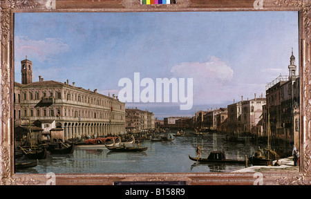fine arts, Canal, Giovanni Antonio, alias Canaletto (1697 - 1768), painting, 'Canal Grande', oil on canvas, 129 - Stock Photo