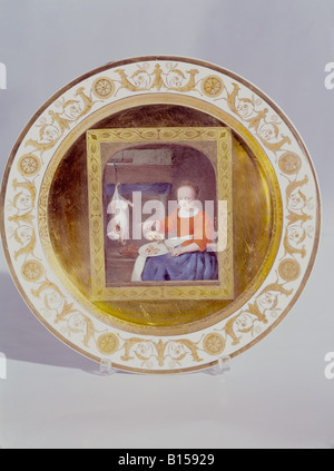 fine arts, porcelain, plate, series with gold plating, 'Cook with rabbit and pheasant', based on Gabriel Metsu (1629 - Stock Photo