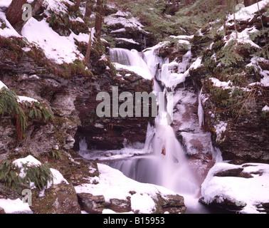 Frozen Waterfall in Winter - Stock Photo