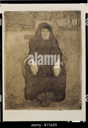 fine arts, Modersohn-Becker, Paula (1876 - 1906), graphic, sitting old woman, etchin, aquatinta, 1899, Kunsthalle - Stock Photo