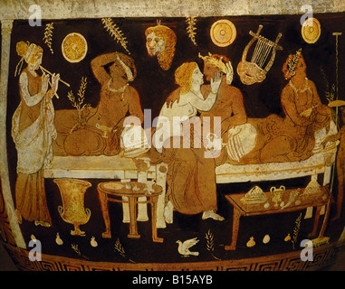 fine arts, ancient world, Campania, vase painting, banquet with flute player, hetaeras and juveniles, red-figured - Stock Photo