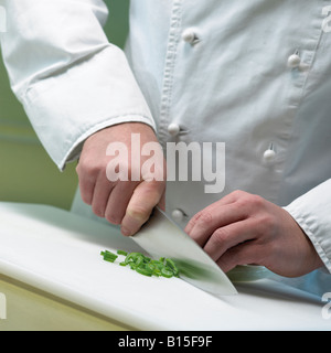 cook is cutting leek close up hands and knife - Stock Photo