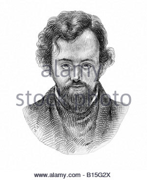 Dante Gabriel Rossetti 1828 1882 English Painter Poet Cross Hatch Style Modern Illustration - Stock Photo