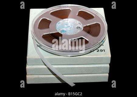 Tape reel from 1970s reel to reel tape machine - Stock Photo