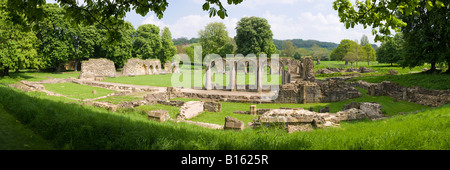 A panoramic view of Hailes Abbey on the Cotswolds near Winchcombe, Gloucestershire - Stock Photo