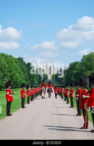 Household Cavalry parading on The Long Walk, Windsor Castle, Windsor, Berkshire, England, United Kingdom - Stock Photo