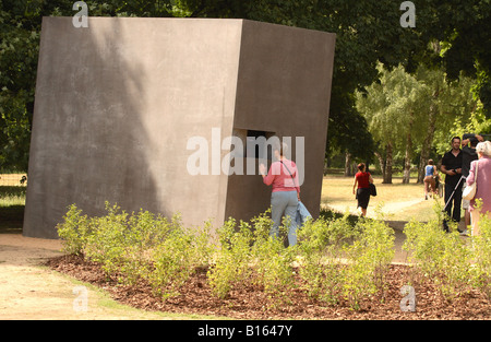 Berlin Germany the Monument to the Gay Victims of the Nazis in the Tiergarten park unveiled May 2008 features a - Stock Photo